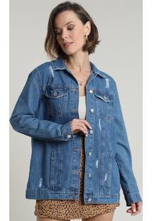 Jaqueta Jeans Feminina Longa Com Rasgos E Bolsos Azul Médio