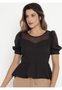 Blusa Peplum Com Tule Operate Feminina - Feminino