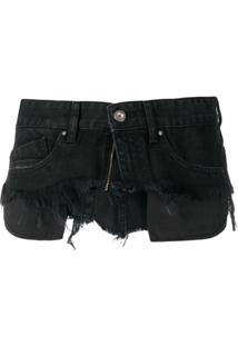 Diesel Cinto Jeans Com Recortes - Preto