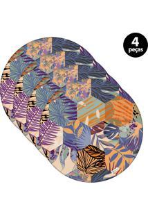 Capa Para Sousplat Mdecore Floral Colorido 4Pçs