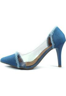 Scarpin Zhaceci Salto Alto Com Transparência Jeans Feminino - Feminino-Azul