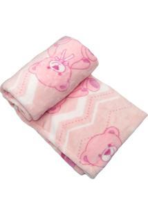 Cobertor Prime Flannel Hazime Urso Rosa - Kanui