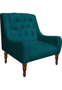 Poltrona Decorativa Maia Suede Azul Pavão - D'Rossi