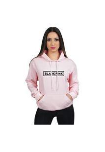 Blusa De Frio Moleton Black Pink Feminino Com Capuz E Bolso Canguru Flanelado Moletom 70% Algodão 30% Poliéster Preço Varias Cores