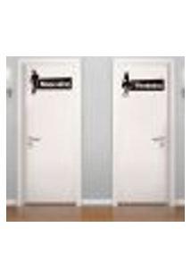 Adesivo De Parede - Placa De Banheiro Masculino E Feminino - G 60X60Cm