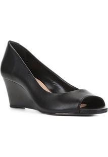 Peep Toe Couro Shoestock Anabela Salto Médio - Feminino-Preto