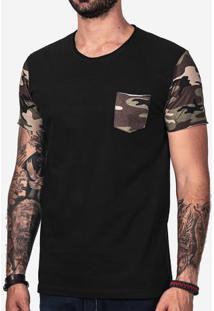 Camiseta Preta Manga Camuflada 102154
