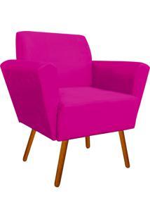 Poltrona Decorativa Dora Estampado Retrô Rosa D61 Pés Palito - D'Rossi