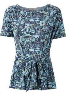Fillity Blusa Estampada Com Amarração - Azul
