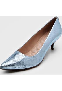 Scarpin Jorge Bischoff Metalizado Azul - Azul - Feminino - Couro - Dafiti