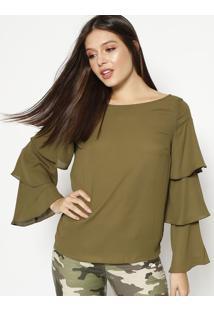 Blusa Com Babados & Recortes - Verde Escuromoiselle