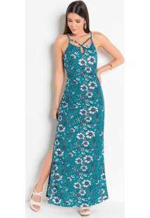 Vestido Floral Gota E Tiras E Fendas Na Lateral