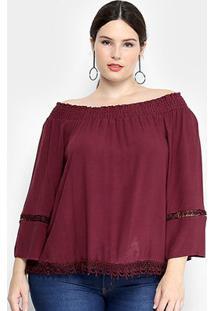 Blusa Fiya Lady Ciganinha Guipir Pluz Size Feminina - Feminino-Bordô