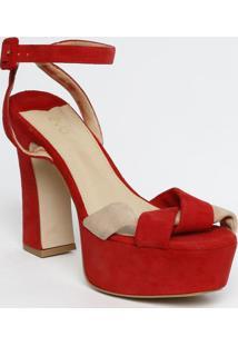 Sandália Meia Pata Acamurçado- Vermelha- Salto: 13Cmeva