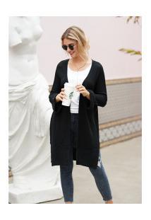 Cardigan De Lã Astana Feminino - Preto