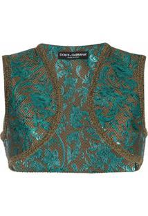 Dolce & Gabbana Jaqueta Cropped De Jacquard Com Estampa Floral - Azul