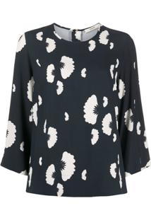 Odeeh Floral Print Cropped Sleeve Blouse - Preto