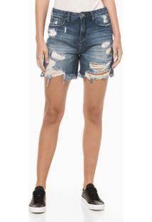 Bermuda Jeans Com Rasgos - Azul Marinho - 34