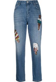 Love Moschino Calça Jeans Com Aplicação De Paetês - Azul