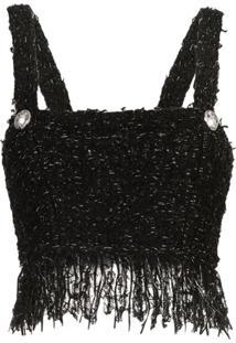 Balmain Regata Cropped De Tweed - Eac Noir Argent