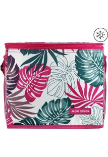 Bolsa Térmica Estampa Folhagens- Branca & Pink- 24X2Jacki Design