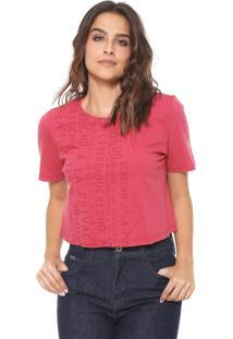 Camiseta Cropped Lança Perfume Lettering Rosa