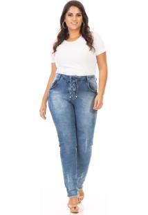 Calça Feminina Jeans Lace Up Cintura Alta Plus Size