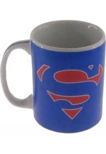 Caneca Decorativa Porcelana Herã³I Super Homem Cor Azul 8X8X8 - Marrom - Dafiti