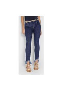 Calça Jeans Lança Perfume Skinny Barras Desfiadas Azul-Marinho