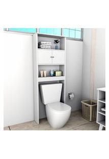 Armário Para Banheiro Com 2 Portas E 3 Prateleiras Slim Branco Lilies Móveis