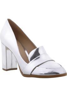 Sapato Tradicional Metalizado- Prateado- Salto: 9Cmarezzo & Co.