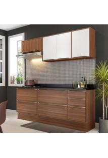 Cozinha Completa 7 Módulos 7 Portas Calábria Multimóveis Nogueira/Branco Texturizado