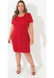 Vestido Vermelho Com Botões Plus Size