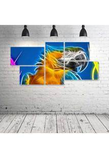 Quadro Decorativo - Parrot-Neon - Composto De 5 Quadros