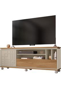 Rack Bancada Para Tv Até 65 Polegadas 2 Portas 3D Form Buriti/Off Whit