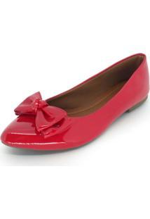 Sapatilha Vanzan Bico Fino Vermelha - Vermelho - Feminino - Verniz - Dafiti