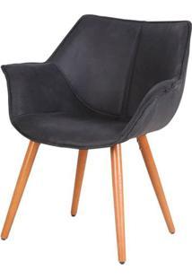 Cadeira Monique Assento Suede Preto Com Base Palito - 45039 Sun House