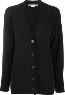 Stella Mccartney Cardigan Com Logo Lateral - Preto