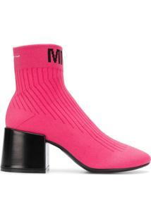 Mm6 Maison Margiela Bota Com Logo - Rosa