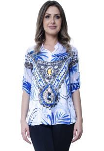 Camisa 101 Resort Wear Cetim Folhagem Branca/Azul