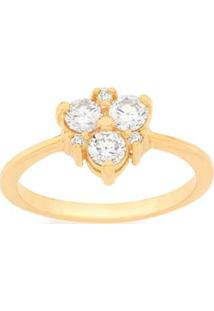 Anel Skinny Ring Com Zircônias Rommanel - Feminino-Dourado
