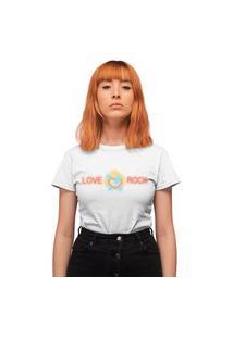 Camiseta Feminina Mirat Love Rock Branco