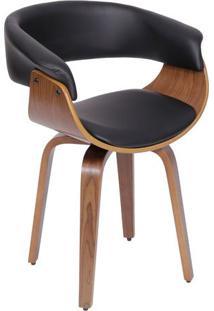 Cadeira Barcelona- Preta & Marrom Escuro- 78X60X40Cmor Design