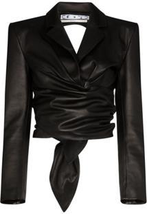 Off-White Blazer Cropped Com Recortes Vazados - Preto