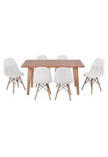 Conjunto Mesa De Jantar Em Madeira 150X80 Vértice + 6 Cadeiras Botonê - Branco