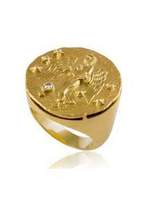 Anel Zodiaco Virgem Amarelo C/ Diamante Chocolate