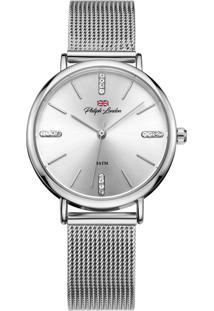 Relógio Philiph London Pl81022123F Prata Pulseira De Esteira