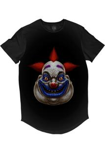 Camiseta Insane 10 Longline Palhaço Gordo Bizarro Sublimada Preta Cinza
