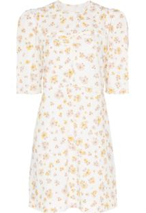 See By Chloé Floral Print Poof Sleeve Cotton Mini Dress - Branco