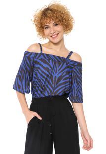 Blusa Ciganinha Mercatto Zebra Azul/Preta